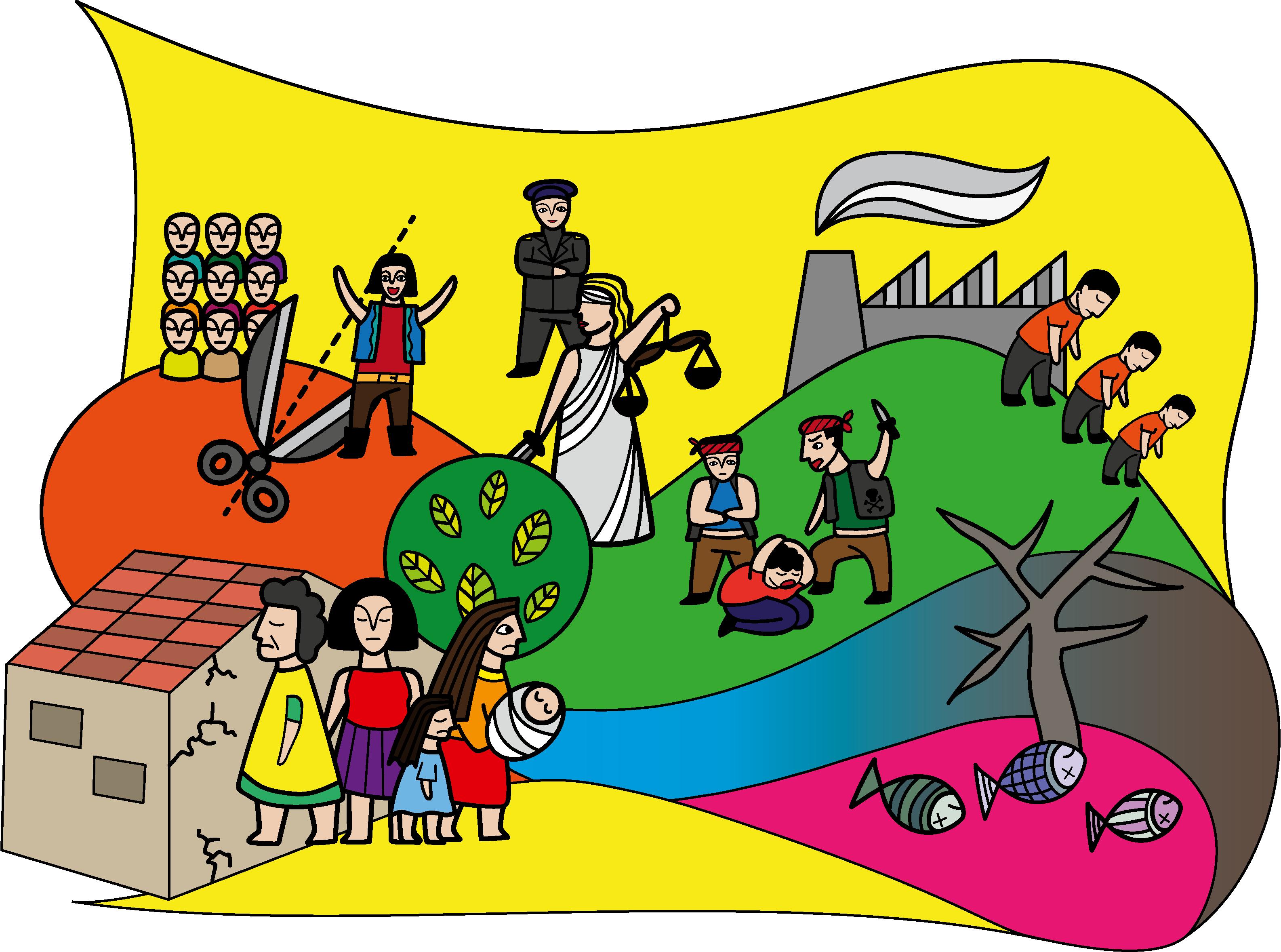 Infografik El Salvador: Ungleichheit, Ungerechtigkeit, Ausbeutung, instabile Familien, Gewalt und Umweltverschmutzung sind die schlimmsten Probleme in El Salvador.